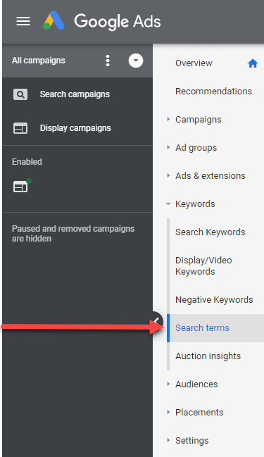google ads search terms