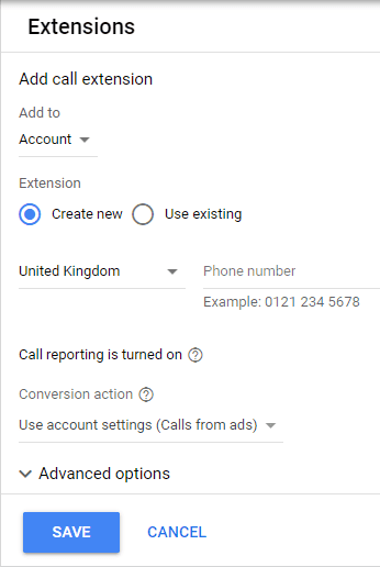 google ads call extensions